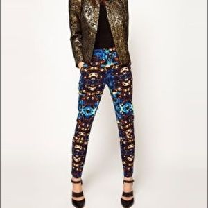 ASOS bold jewel print stretch cotton trousers 6